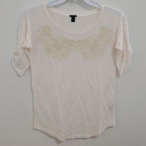 ❤J. CREW TOP/SHIRT WITH LACE APPLIQUE, XS